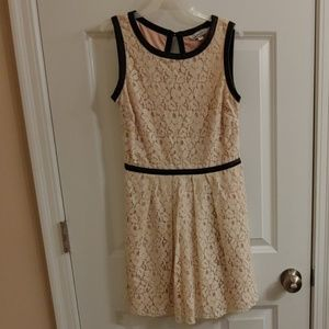 Lace Dress, trimmed in faux leather
